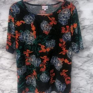 LolaRoe T-Shirt Dark Green with Colorful Floral